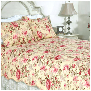 Victorian Yellow & Red Rose Country Cottage Bedding Full/Queen King Elegant Romantic Quilt Set
