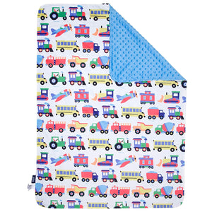 "Trains Planes Trucks Baby Crib Blanket 29"" x 35"" Plush Velour Minky Throw"