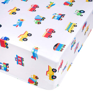 Trains Planes Trucks Microfiber Fitted Crib Sheet