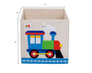 "Train 13"" Cube Canvas Toy Storage Box / Bin with Applique"