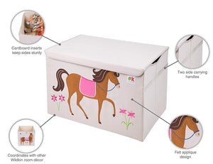 Pony Horse Appliqued Toy Storage Chest / Foldable Canvas Box / Bin 24""