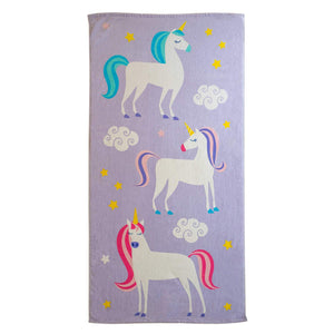 "Purple Unicorn Kids Cotton Beach / Bath Towel 32"" x 64"""