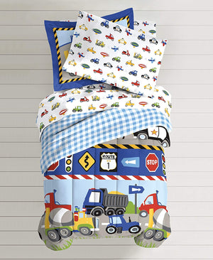 Cars, Trucks, Planes, Police Car Boys Bedding 5pc Twin Comforter Set Bed in a Bag