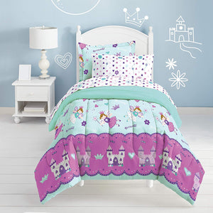 Blue Pink Magical Princess Fairy Bedding for Little Girls Twin Bed in a Bag Ensemble