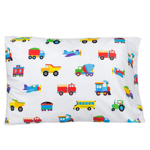 Trains Planes Trucks Pillowcase Olive Kids