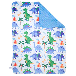 "Dinosaurs Baby Crib Blanket 29"" x 35"" Plush Velour Minky Throw"