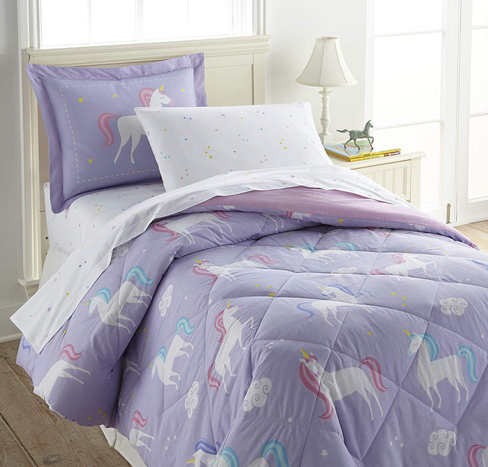 Lavender Unicorn Cotton Bed in a Bag Girl Bedding Toddler, Twin, Full Comforter & Sheet Set