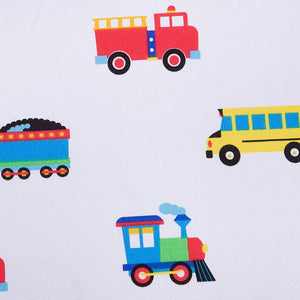Trains Planes Trucks Crib Sheet Detail