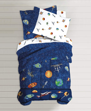 Planets Outer Space Bedding for Boys Twin or Full Comforter Set Bed in Bag Galaxy Navy Blue Ensemble