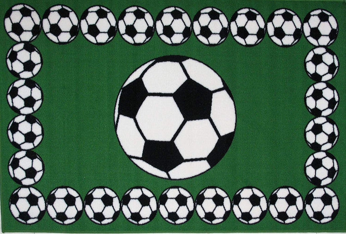 "Soccer Balls Green Rectangle Sports Rug 19"" x 29"" or 39"" x 58"""