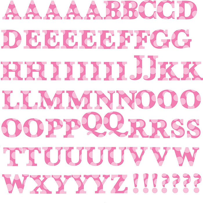 Pink Alphabet Letters Polka Dot Wall Decals Stickers Peel & Stick