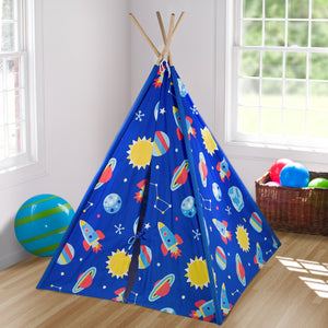 "Outer Space Rockets Planets Kids Play Teepee 63"" Blue Cotton Canvas"