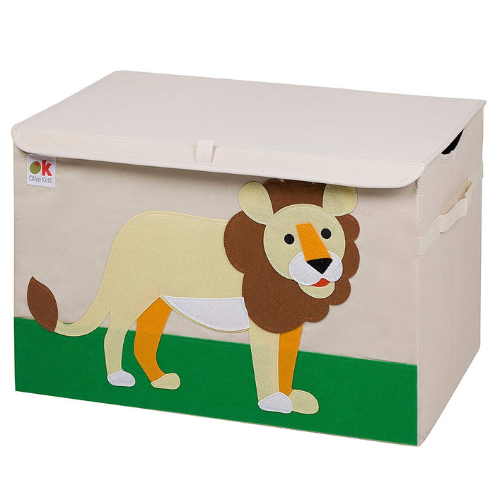 Lion Appliqued Toy Storage Chest / Foldable Canvas Box / Bin 24""
