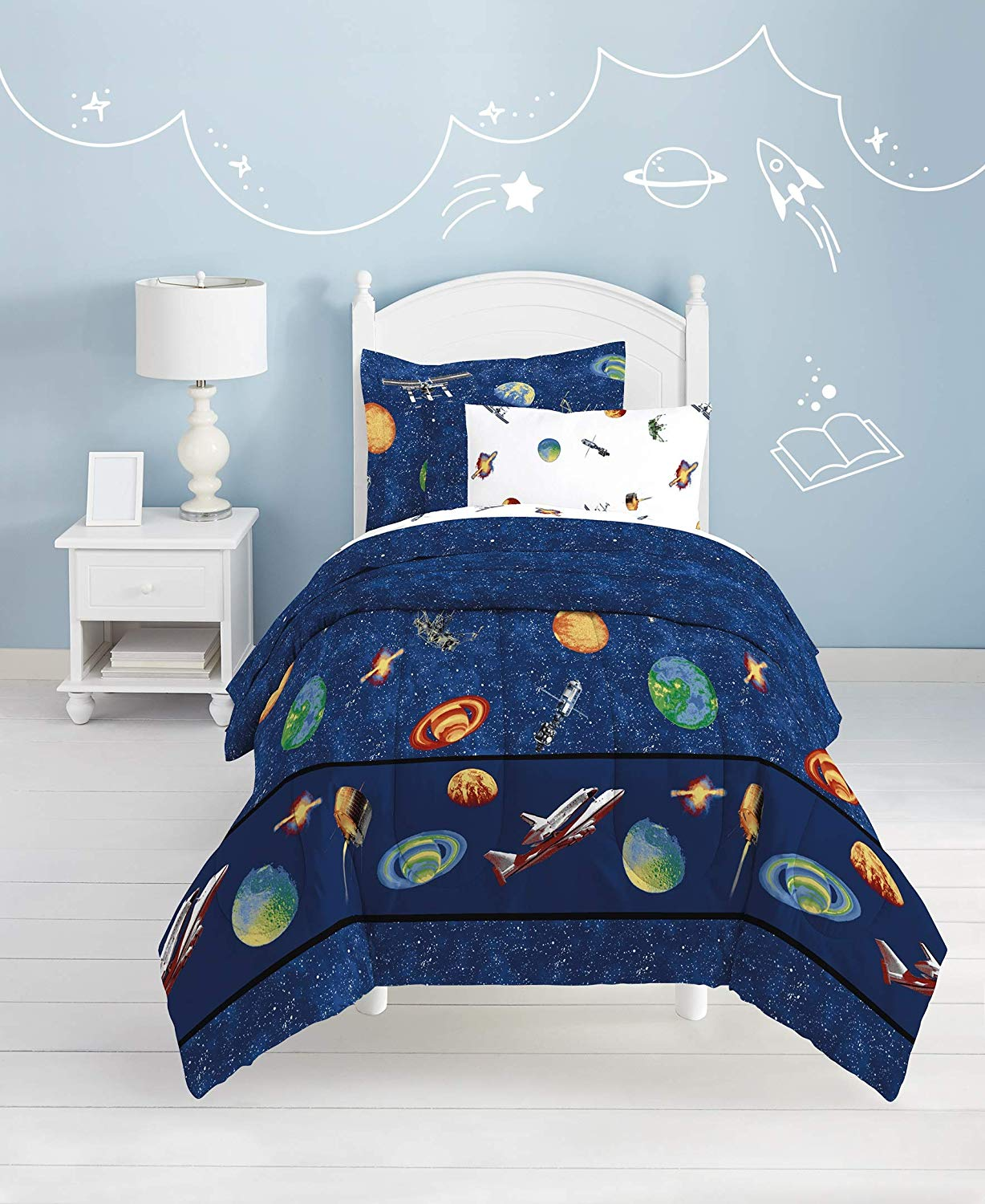Planets Outer Space Bedding For Boys Twin Or Full Comforter Set Bed In Kidsroomtreasures Com