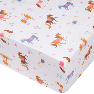 Pony Horses Microfiber Fitted Baby Crib Sheets 2-Pack