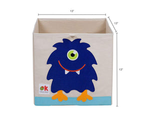 "Alien Monster 13"" Cube Canvas Toy Storage Box / Bin with Applique"