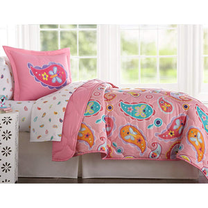 Pink Paisley Floral Butterfly Microfiber Bed in a Bag Toddler Twin Full Girl Bedding Comforter & Sheet Set