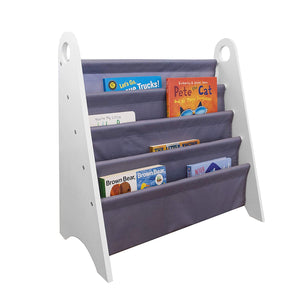 Modern Sling 4-Tier Kids Bookshelf Bookcase with Top Handles - Grey Pink or White