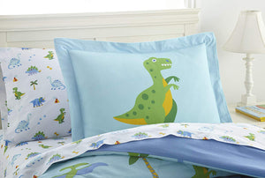 Dinosaur Land Cotton Bed in a Bag Toddler, Twin, Full Blue Bedding Comforter & Sheet Set