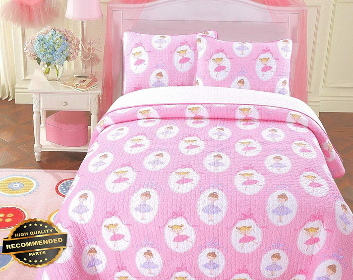 Pink Medallion Dancing Ballerinas Girl Bedding Twin Full/Queen Cotton Quilt Set