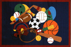 Sports Icons Kids Accent Floor Rug