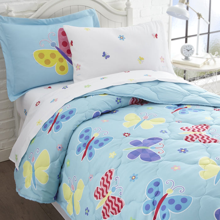 Butterfly Garden Microfiber Bed in a Bag Toddler Twin Full Girl Bedding Blue Comforter & Sheet Set