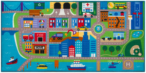 "Cityscape Transportation Educational Play Rug 39"" x 80"""