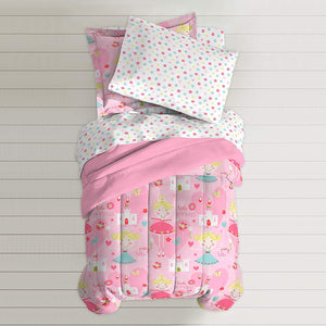 Pink Pretty Little Princess Girls Bedding Twin or Full Comforter Set Bed in a Bag