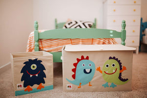 Monsters Appliqued Toy Storage Chest / Foldable Canvas Box / Bin 24""