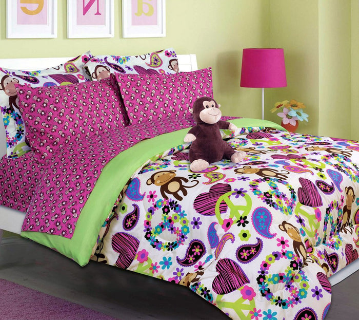 Monkey Peace & Hearts Pink Girl Bedding Twin Full Queen Bed in a Bag & Plush