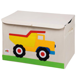 Dump Truck Appliqued Toy Storage Chest / Foldable Canvas Box / Bin 24""