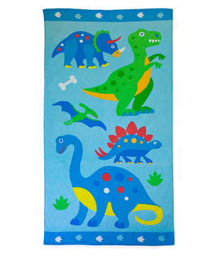 "Blue Green Dinosaurs Kids Cotton Beach / Bath Towel 32"" x 64"""