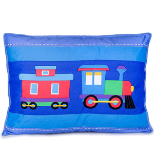 Train Blue Pillow Sham for Boys