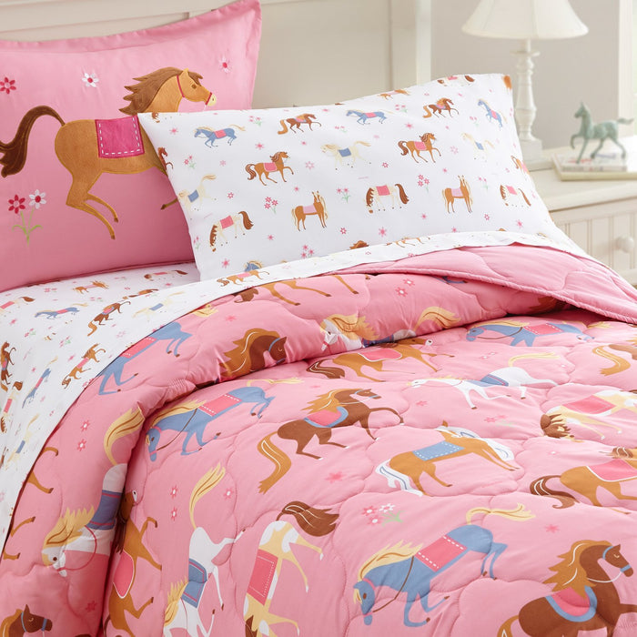 Pony Horses Microfiber Bed in a Bag Toddler Twin Full Girl Bedding Pink Comforter & Sheet Set