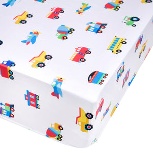 Trains Planes Trucks Microfiber Fitted Baby Crib Sheets 2-Pack