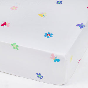 Butterfly & Floral Microfiber Fitted Baby Crib Sheets 2-Pack