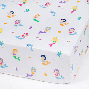 Mermaids Microfiber Fitted Baby Crib Sheets 2-Pack