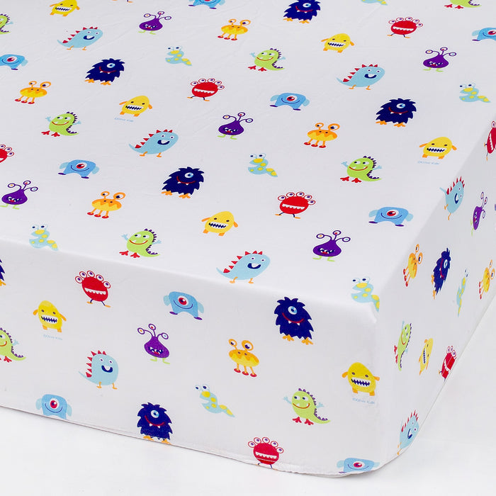Alien Monsters Microfiber Fitted Baby Crib Sheets 2-Pack
