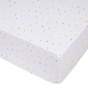 Sweet Dreams Confetti Sprinkles Microfiber Fitted Baby Crib Sheets 2-Pack