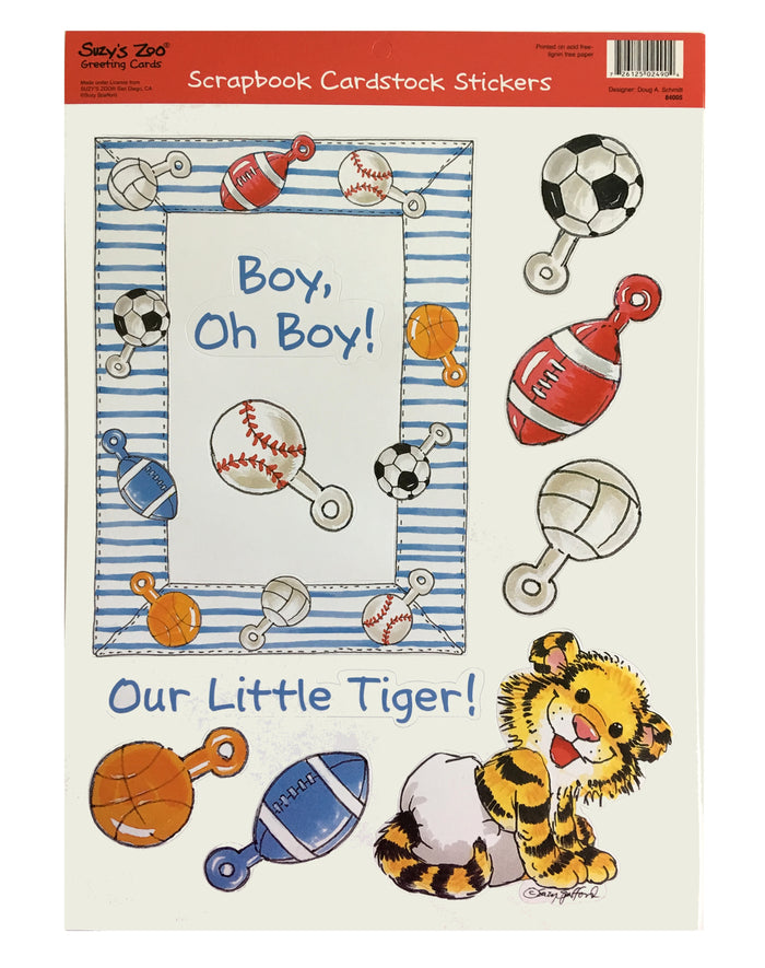"Suzy's Zoo Baby Boy 'Little Tiger' Die Cut Cardstock Stickers 8 1/2"" x 11"""