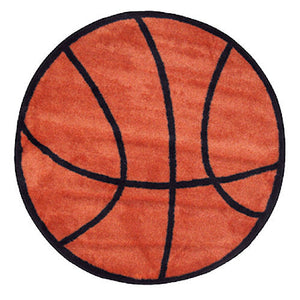"Basketball Shaped 39"" Round Sports Rug"
