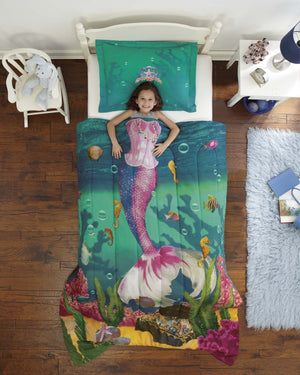 Mermaid Sea Princess Bedding Twin Comforter Set Blue Green Purple Photo Real