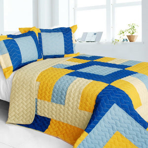 Modern Blue Yellow & Cream Teen Bedding Full/Queen Quilt Set