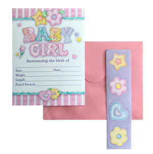 Baby's Quilt Baby Girl Birth Announcement Cards 8 CT - Pink Stripe Gingham Hearts Flowers & Stars