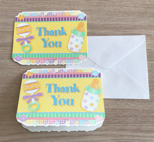 Baby Shower Yellow Thank You Cards 8 CT - Baby Icons Rattles & Bottles