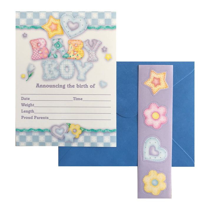 Baby's Quilt Baby Boy Birth Announcement Cards 8 CT - Blue Checkered Hearts Flowers & Stars