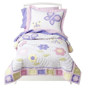 Pink & Purple Butterfly Toddler Girl Comforter Bedding 5pc Bed in a Bag Set Cotton