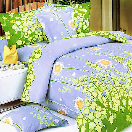 Blue Green Meadow Girl Bedding Twin Full Queen King Duvet Cover Set Yellow Circle Dot Floral