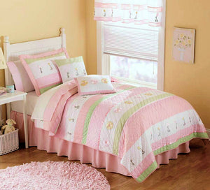 Pastel Pink & Green Girls Bedding Twin Quilt Set - Cotton Striped Floral Embroidered Bedspread