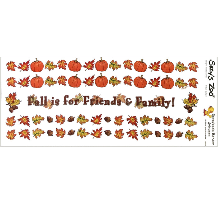"Suzy's Zoo Fall Leaves Pumpkins Border Stickers Vintage Scrapbooking Sheet 5"" x 12"""